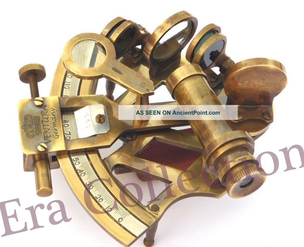 Nautical Maritime Antique Brass Sextant Marine Astrolabe Ships Instrument Gift
