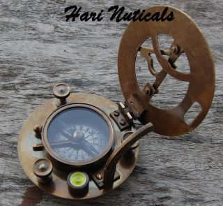 Solid Brass Pocket Gift Compass Ship Compass - West London Sundial Compass - photo