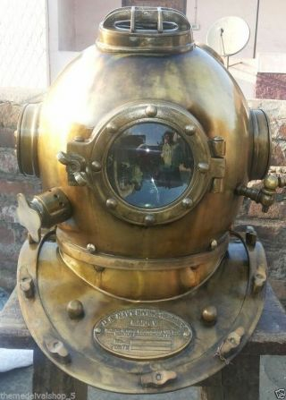 Antique Scuba Sca Divers Diving Helmet Us Navy Mark V Deep Sea Full Size Marine photo
