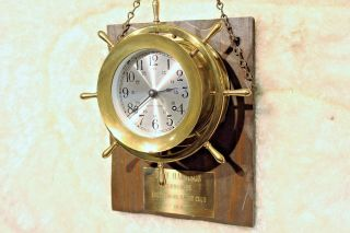 Seth Thomas Antique Ship Clock With 7 Jewels And Vintage Case Wood Watch Movie photo