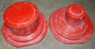 2 Sizeable Industrial Wood Patterns Foundry Casting Molds Great Pedestals photo