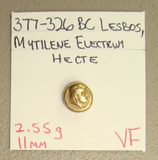 377 - 326 Bc Lesbos,  Mytilene Ancient Greek Electrum 6th Stater (hecte) Vf photo