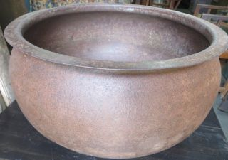 Antique Large Iron Cauldron Garden Planter Yard Decor Fire Pit Multi Use Pot photo