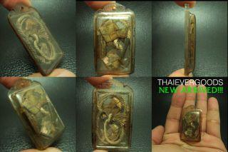 Old Rare Locket Pla Tapean & Takrut Wealth Power Lp Jong Real Thai Amulet photo