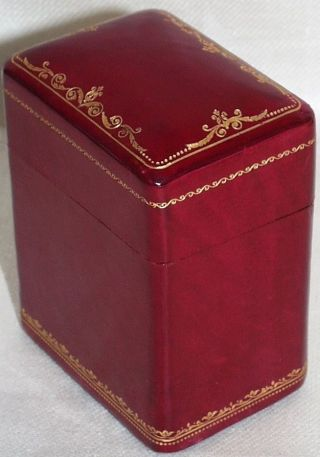 Vintage Red Leather With Gilt Tooling Card Box Italian photo