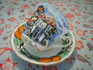 Rare Vintage Taylor & Kent Bone China Tea Cup And Saucer California Mission Exc photo