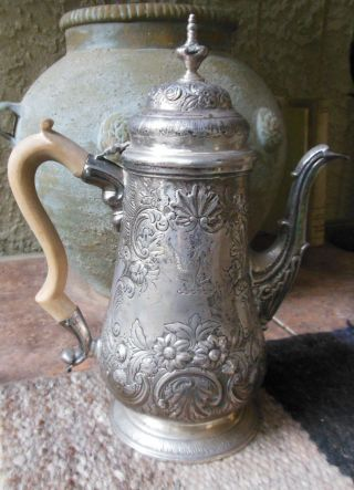 Antique Sterling Silver 1773 Coffee Pot Georgian Eagle Crest London 870 Gr. photo