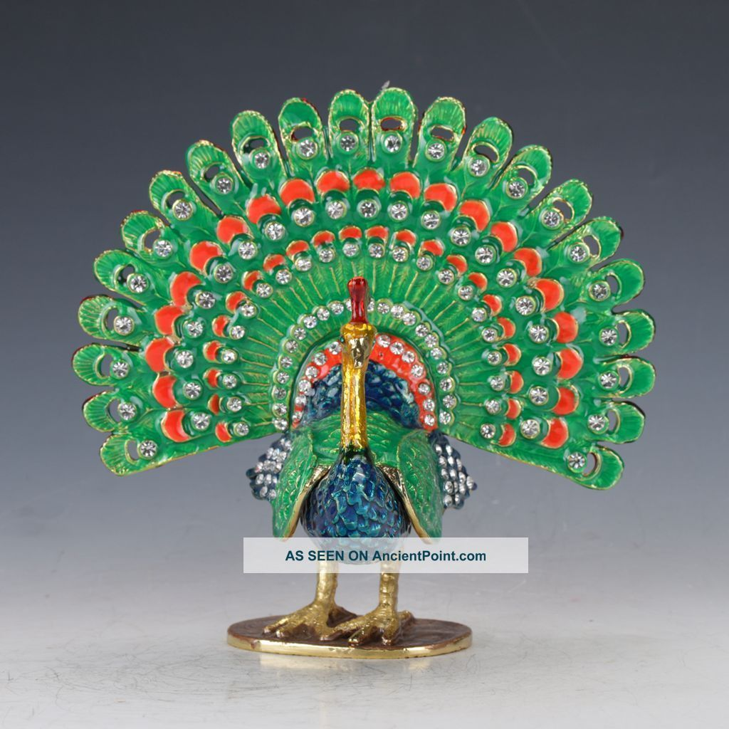 Chinese Cloisonne Copper Handwork Inlaid Rhinestone Peacock Shape Box C773 Boxes photo