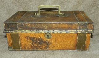 Antique Old Metal Strong Box Money Box With Metal Interior Insert No Key photo
