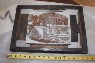 Letterpress Printing Printers Block Art Deco Frame Large Brick House City Street photo