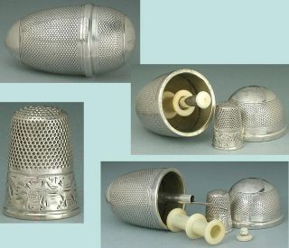 Antique Sterling Silver Sewing Egg & Child ' S Thimble/ Needle Case/spools C1850 photo