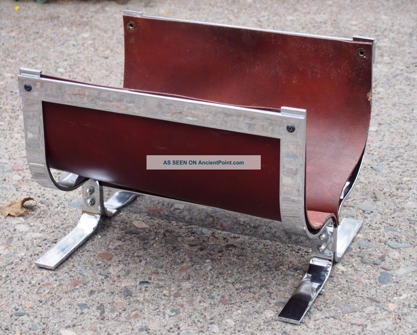 Alessandro Albrizzi Leather Chrome Fireplace Log Holder Hearth Ware photo