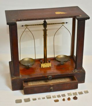 H Kohlbusch Antique Jewelers Diamond Balance Assay Apothecary Scale & Weights photo