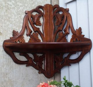Xlnt Antique Black Forest Carved Walnut Folding Corner Wall Clock Nic - Nac Shelf photo