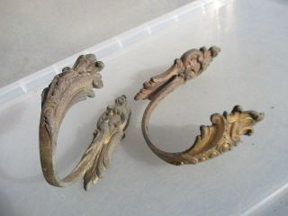 French Brass Curtain Tie Backs Architectural Antique 1800 ' S Baroque Rococo Hook photo