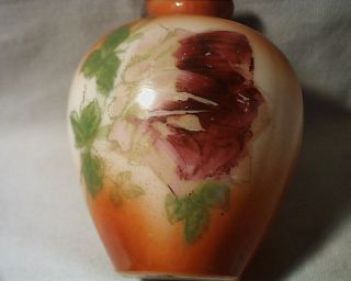 Antique Victorian Hand Painted Flower & Leaves Milk Glass Vase photo