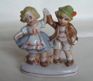 1930s Germany Vintage Porcelain Figurine Dancing Boy & Girl photo
