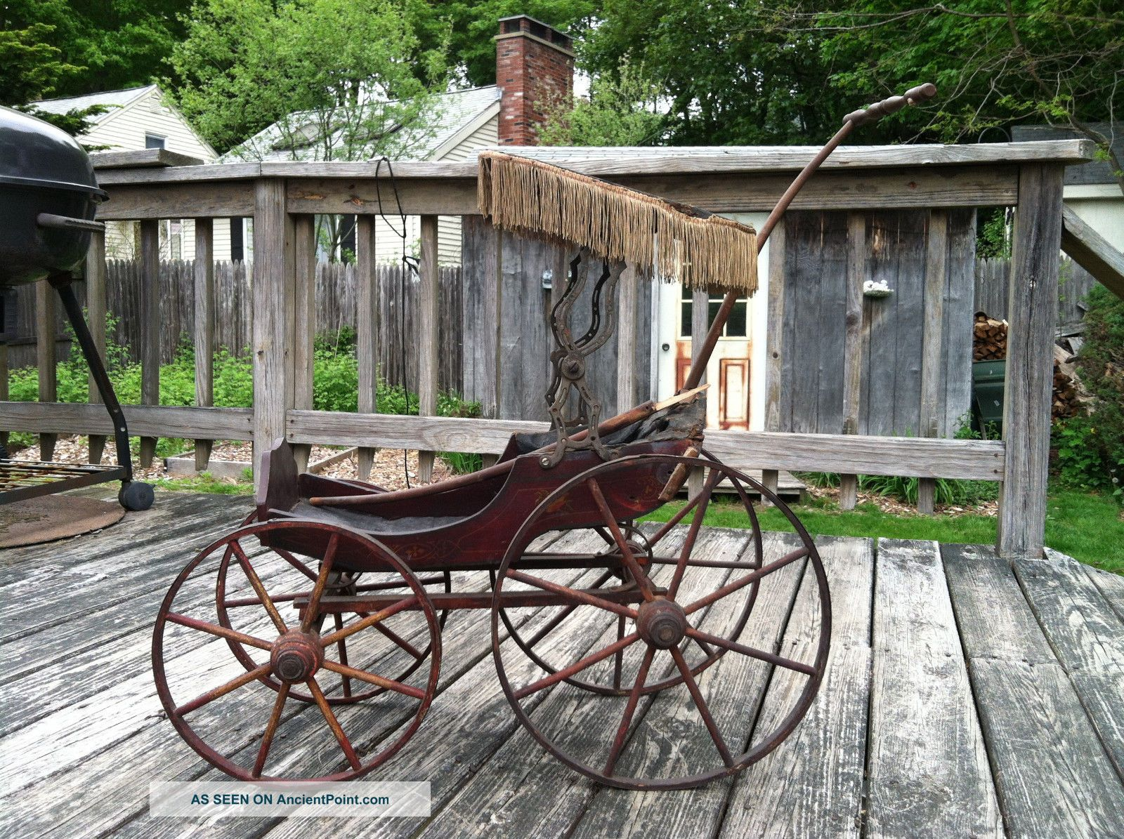 1800 ' S Antique Wooden Doll Carriage W/canopy Surrey Top  Pick Up Only Baby Carriages & Buggies photo