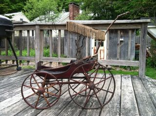 1800 ' S Antique Wooden Doll Carriage W/canopy Surrey Top  Pick Up Only photo