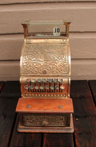 Antique Candy Store Barber Shop Brass National Cash Register Model 250 Ohio photo