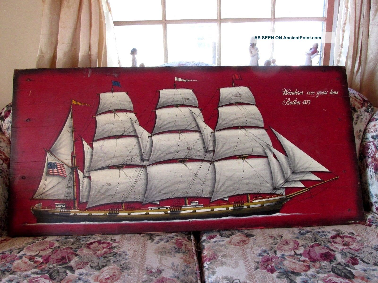 Oil On Wood Painting Sailing Ship Wanderer B.  D ' Arte F.  Conz 41 In X 20 In Plaques & Signs photo