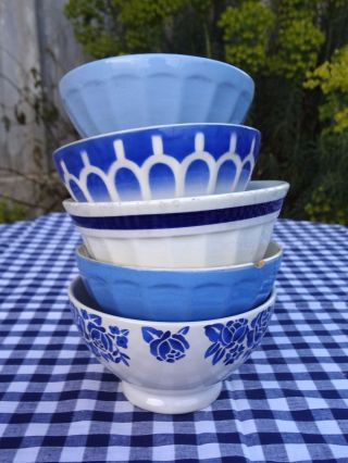 Blue & White Antique Vintage French Café Au Lait Bowls St Amand Petit Déjeuner photo