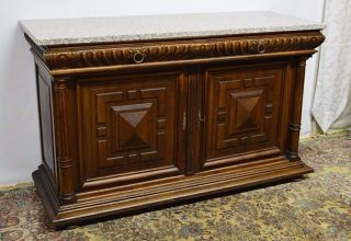 Antique Victorian Carved Walnut Sideboard Server Buffet photo