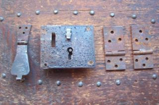 Antique Stage Coach Trunk Hand Forged Hinges And Lock 19th Century photo