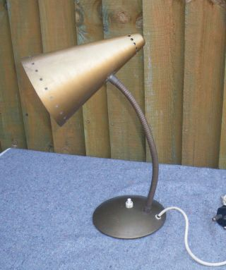 Vintage 1960s Goldtone Maclamp Brass Gooseneck Desk Lamp Perforated Star Shade photo