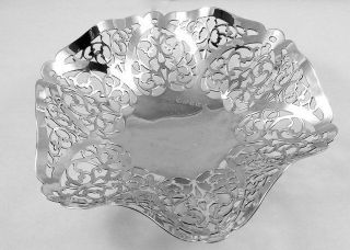 Hallmarked Silver B,  Ham 1963 Pierced Bowl / Dish photo