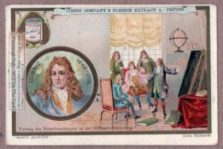Mathematician Gottfried Leibniz Calculus C1898 Trade Card photo