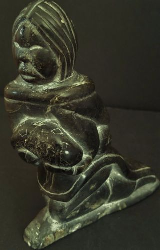 Vintage Very Inuit Soapstone Carving Signed Numbered,  Eskimo Woman photo