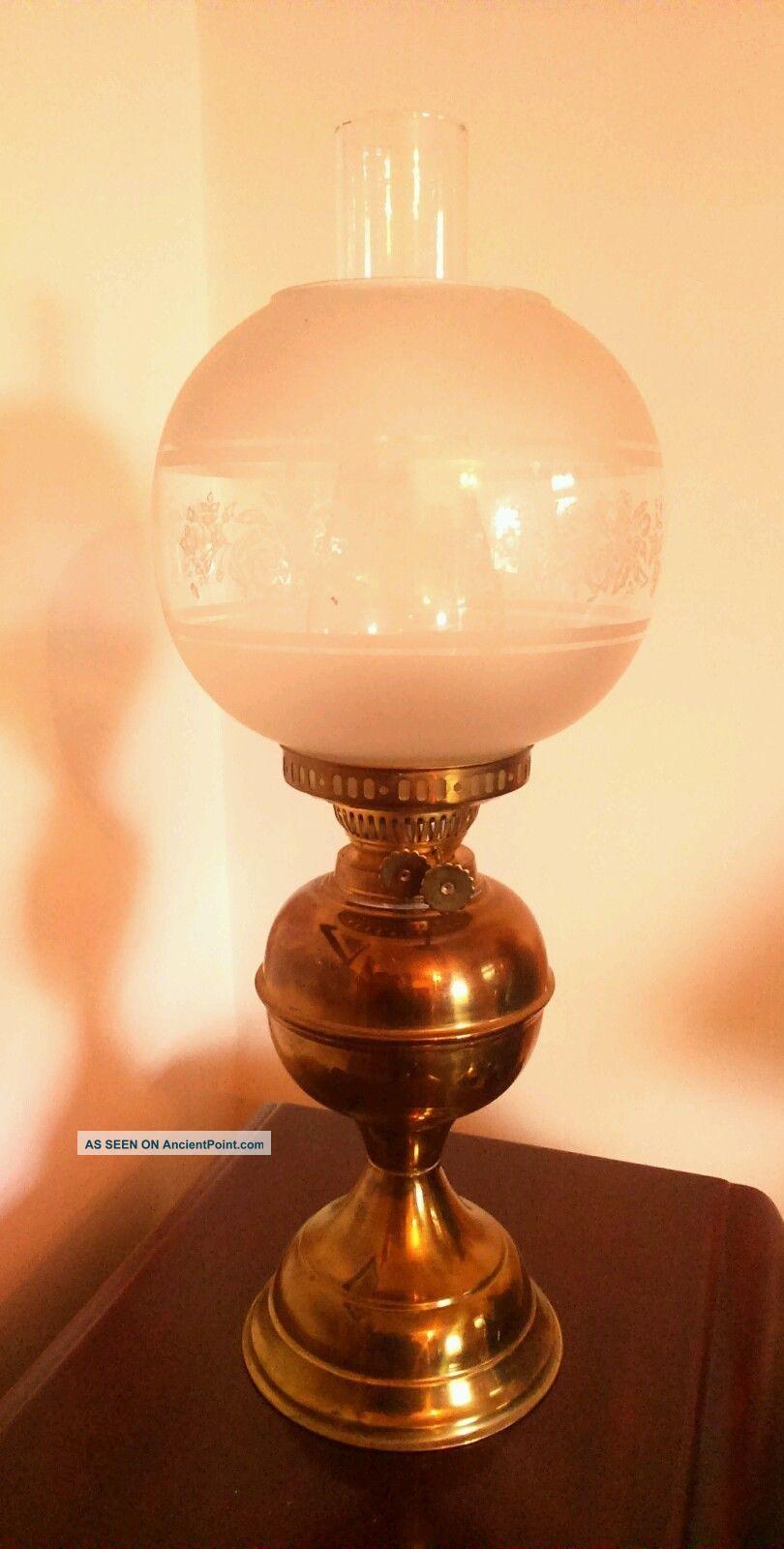 Vintage Brass Oil Lamp 20th Century photo