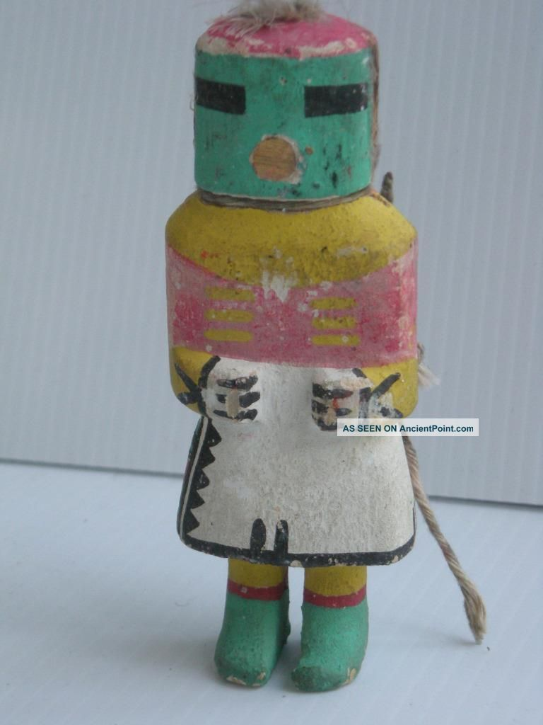 Antique Stiff Arm Vintage Hopi Indian Kachina Doll - Early Example W/neck Cord Native American photo