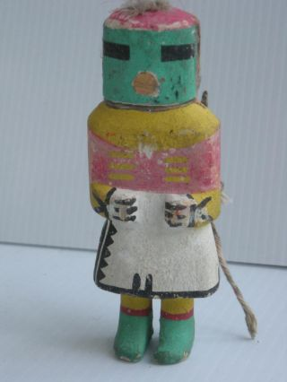 Antique Stiff Arm Vintage Hopi Indian Kachina Doll - Early Example W/neck Cord photo