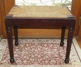 Antique Piano Or Vanity Bench Woven Rush Seat & Dark Wood W/turned Legs photo
