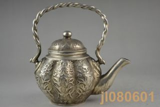 4.  9 Inch Collectible China Handwork Copper Silvering Carve Flower Totem Teapot photo