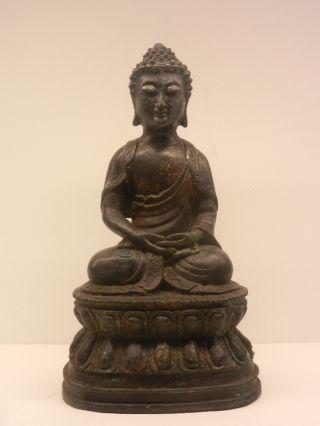 Antique Chinese/tibetan 18th Century Temple Figure Of Buddha On Lotus Leaf Base photo