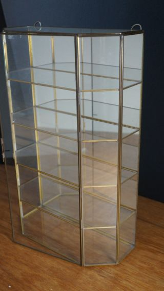 Large Vintage Glass Brass Display Case Table Wall Curio Shelves Mirror photo