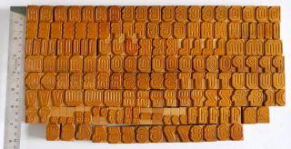 158 Piece Vintage Letterpress Wood Wooden Type Printing Blocks 25mm Wb5 photo