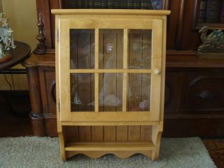 Ethan Allen Bathroom Cabinet Curio Hanging What Not Shelf Display Maple Cupboard photo