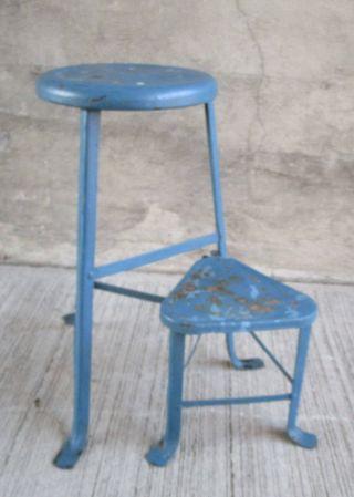 Vintage Industrial Metal Stool W/ Swivel Step Seat - Chair - Kitchen - Blue (8) photo