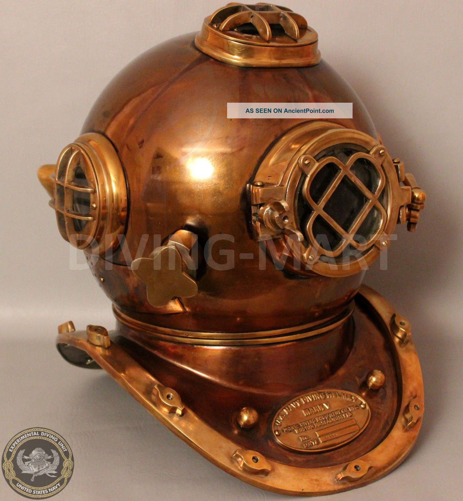 Boston Mass U.  S Navy Mark V Solid Copper And Brass Diving Helmet Full Size Other Maritime Antiques photo