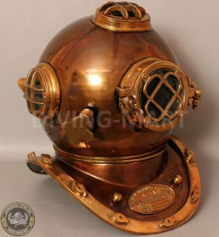 Boston Mass U.  S Navy Mark V Solid Copper And Brass Diving Helmet Full Size photo