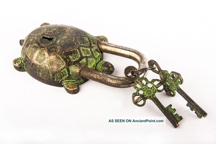 Decorative Green Tortoise Antique Hand Carved Brass Turtle Pad Lock W Keys Bl 08 Other Maritime Antiques photo