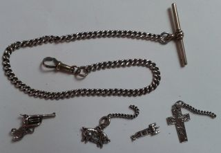 Solid Silver Albert P/w Chain With Small Fobs/charms Of Revolver & Pig photo