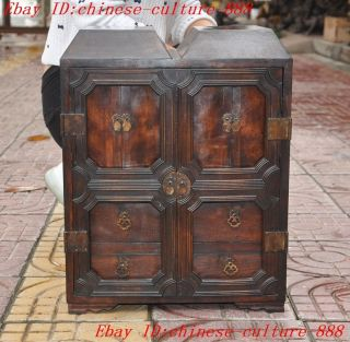 Huge Old Chinese Huanghuali Wood Carved Statue Drawers Cabinet Box Jewelry Boxes photo
