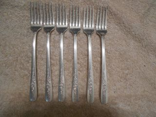 6 Nobility Plate 1939 Royal Rose Grille Or Viande Forks Oneida Silverplate photo