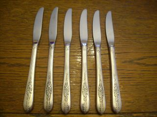 6 Nobility Plate 1939 Royal Rose Grille Or Viande Knives Oneida Hollow Hdld photo