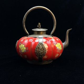 Chinese Ancient Tibet Silver Inlay Ceramic Handmade Painting Pumpkins Teapot photo